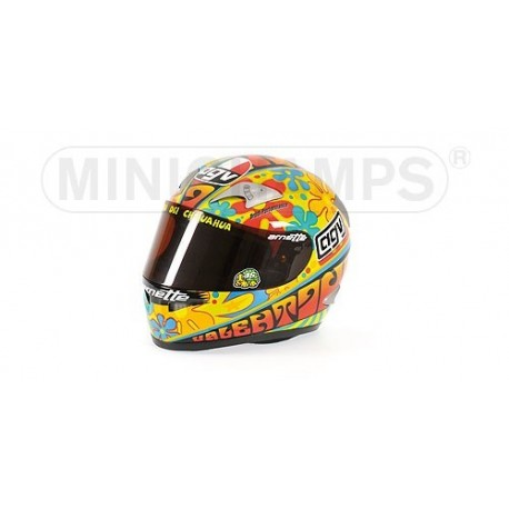 casque 1 2 agv valentino rossi motogp valence 2003 minichamps 327030086 miniatures minichamps. Black Bedroom Furniture Sets. Home Design Ideas