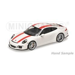Porsche 911 R 2016 White with red stripes Minichamps 410066220