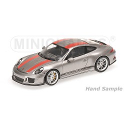 Porsche 911 R 2016 Silver with red stripes and black writing Minichamps 410066222