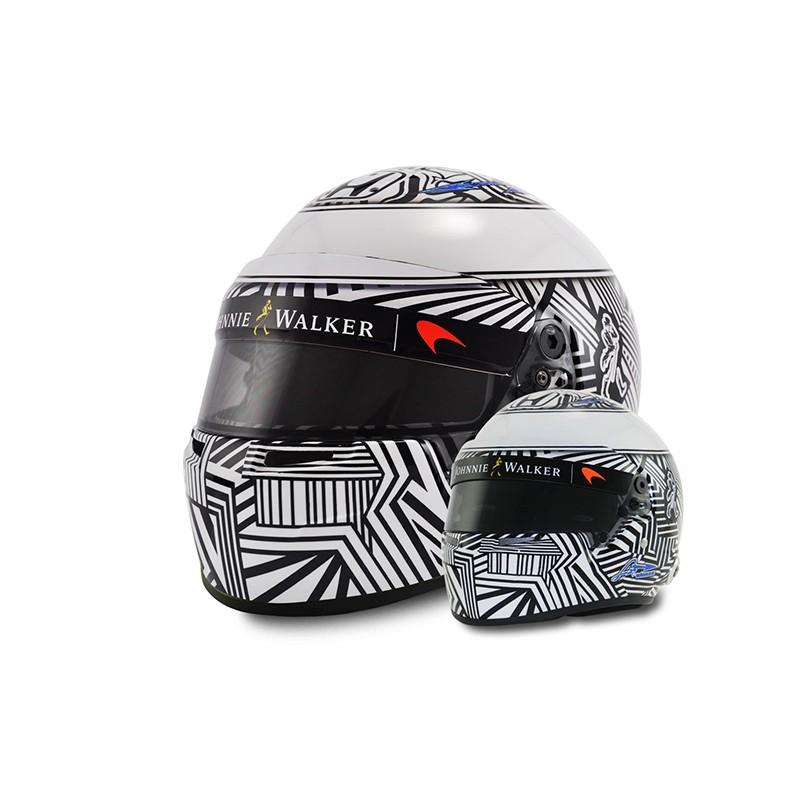 casque 1 2 fernando alonso f1 test barcelona 2017 bell miniatures minichamps. Black Bedroom Furniture Sets. Home Design Ideas