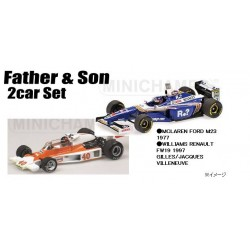 2 Car Set McLaren Ford M23 1977 Williams Renault FW19 1997 Gilles & Jacques Villeneuve Minichamps 412779702