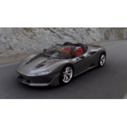 Ferrari J50 Body Color Pure Metal Silver Shiny with Italian Flag on the front wing Looksmart LS485D