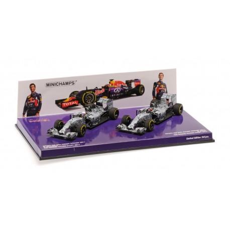 Set 2 cars Red Bull Renault RB11 Pre-Season Testing 2015 Minichamps 412150326