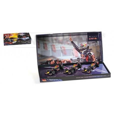 Coffret Sebastian Vettel 3 times F1 World Champion 2010 2011 2012 Minichamps 412101112