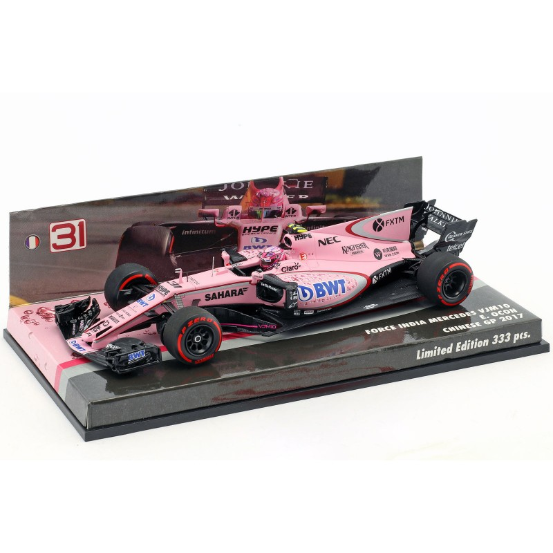 force india mercedes vjm10 f1 chine 2017 esteban ocon minichamps 447170231 miniatures minichamps. Black Bedroom Furniture Sets. Home Design Ideas