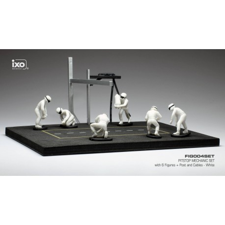Set Pit Stop 1/43 Blanc 6 figures with Decals and accessories IXO FIG004SET