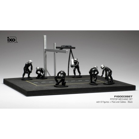 Set Pit Stop 1/43 Black 6 figures with Decals and accessories IXO FIG003SET