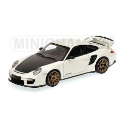 Porsche 911 (997 II) GT2 RS 2011 Blanche - Jantes Dorées, Edition Limitée à 504 pcs.Minichamps 100069406