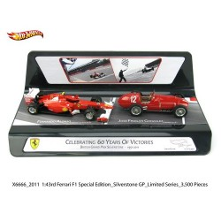 Ferrari Set 60th Years Success Ferrari 150 Italia Alonso 2011 - Ferrari 375 F1 British GP Gonzalez 1951 Hotwheels MX6666