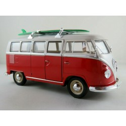 Volkswagen T1 Bus Surfboard 1963 Red and White Welly WEL22095SB