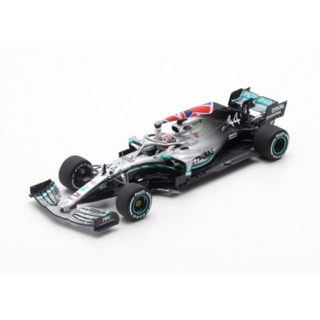 Mercedes F1 W10 EQ Power+ 44 F1 Winner with flag Angleterre 2019 Lewis Hamilton Spark S6089
