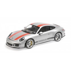 Porsche 911 R 2016 Silver with Red Stripes Minichamps 125066321