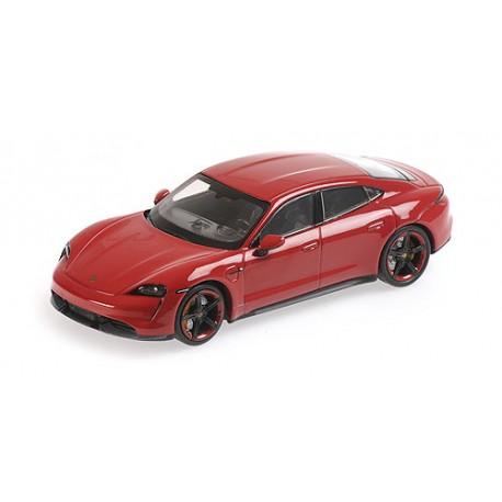 Porsche Taycan Turbo S 2020 Kaminrot Red Minichamps 410068472