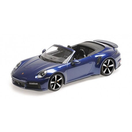 Porsche 911 992 Turbo S Cabriolet 2020 Blue Metallic Minichamps 155069081