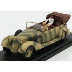 Mercedes Benz 770 Africa Korps Mimetic Car With figures Rommel and Driver 1941 Military Green Rio Models 4575-P
