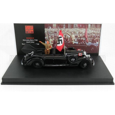 Mercedes Benz 770K Cabriolet Nuremberg Parade Hitler with figure 1938 Black Rio Models 4557/P