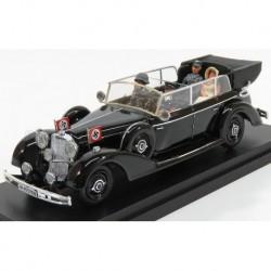 Mercedes Benz 770K Cabriolet with Adolf Hitler and Eva Braun - SS Military 1942 Military Black Rio Models CAR023