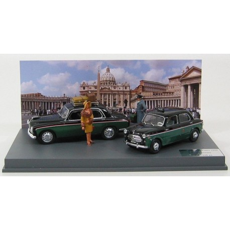 Alfa Romeo Set Taxi Piazza San Pietro Roma 1959 - 1900 Taxi - Fiat 1100 TV with 3 figures Black Green Rio Models 4331/D