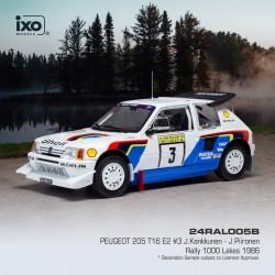 Peugeot 205 T16 E2 3 Rallye des 1000 Lacs 1986 Kankkunen Piironen IXO 24RAL005B