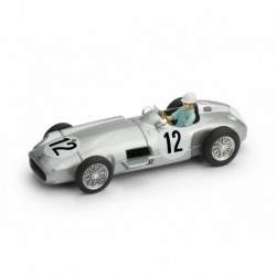 Mercedes Benz W196 with Driver 12 F1 First F1 Victory Grand Prix de Monaco 1955 Stirling Moss Brumm R072C-CH-UPD-2021