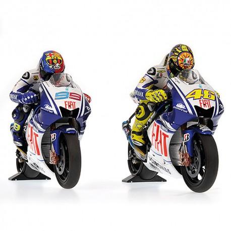Set 2 Bikes + 2 Figurines Yamaha YZR M1 Valentino Rossi Jorge Lorenzo Moto GP Barcelona 2009 Minichamps 122094699