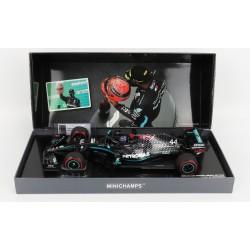 Mercedes F1 W11 EQ Performance 44 F1 91st Win Eifel 2020 Lewis Hamilton with pitboard and Schumacher helmet Minichamps 113201144