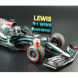 Mercedes F1 W11 EQ Performance 44 F1 91st Win Eifel 2020 Lewis Hamilton with pitboard and Schumacher helmet Minichamps 110201144